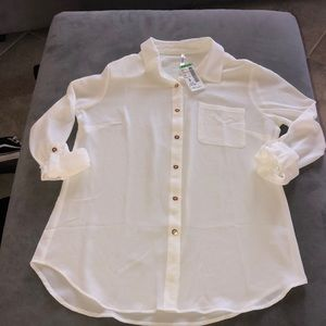 cream white collared blouse